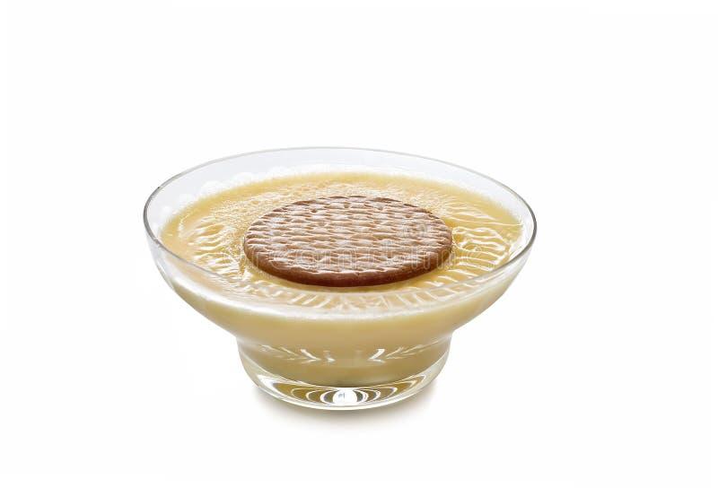 Crème avec un biscuit. photographie stock libre de droits