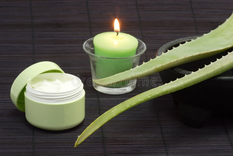 Crème de massage facial de vera d'aloès photographie stock libre de droits