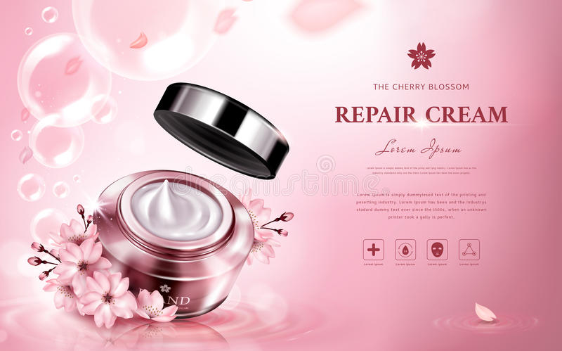 Crème de réparation de fleurs de cerisier illustration libre de droits