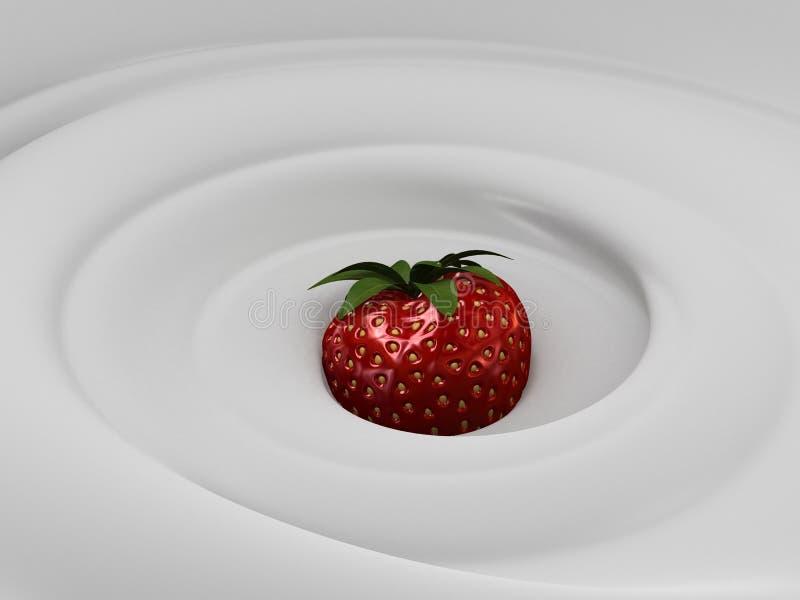 Crème et fraise illustration stock