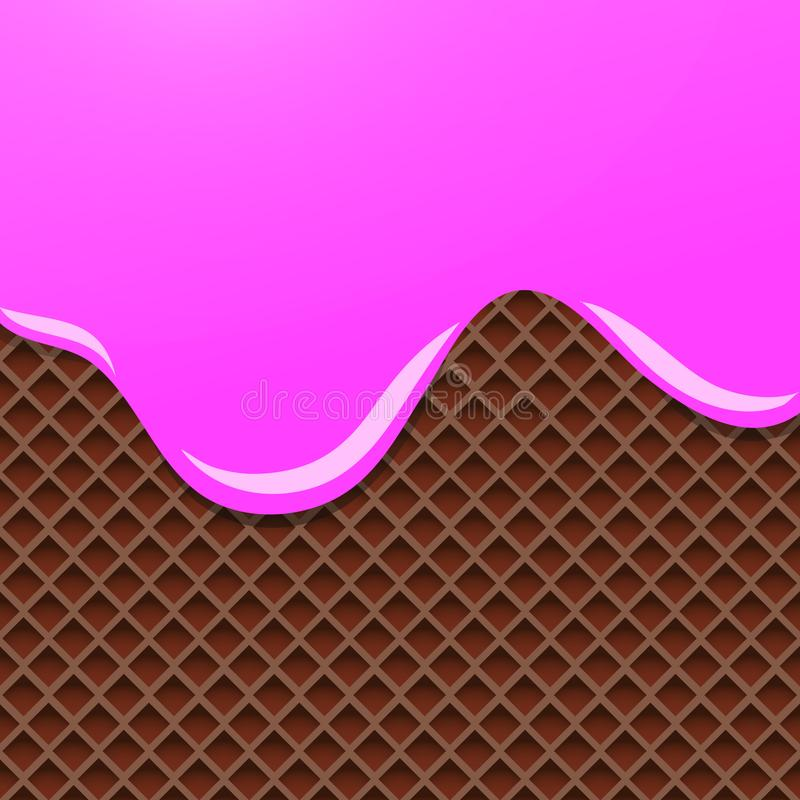 Crème fondue sur le fond de gaufrette de chocolat Illustration de vecteur illustration de vecteur