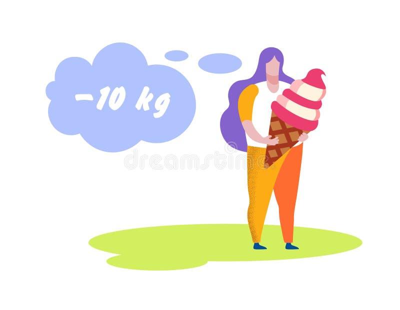 Crème glacée énorme de participation de poids excessif de femme, régime illustration stock