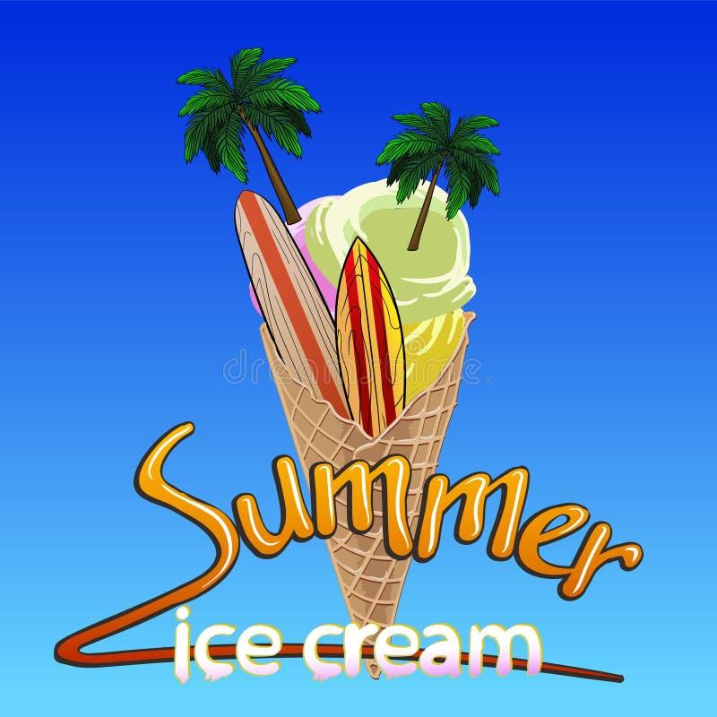 Crème glacée avec des palmiers et des planches de surf et la crème glacée d'été d'inscription illustration stock