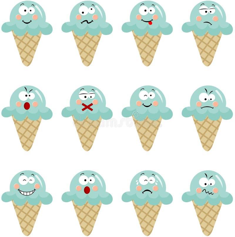 Crème glacée avec différentes expressions illustration stock