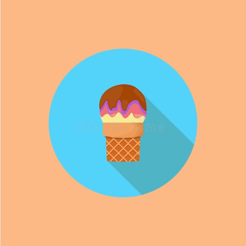 Crème glacée avec la longue ombre Vecteur Illustration illustration libre de droits