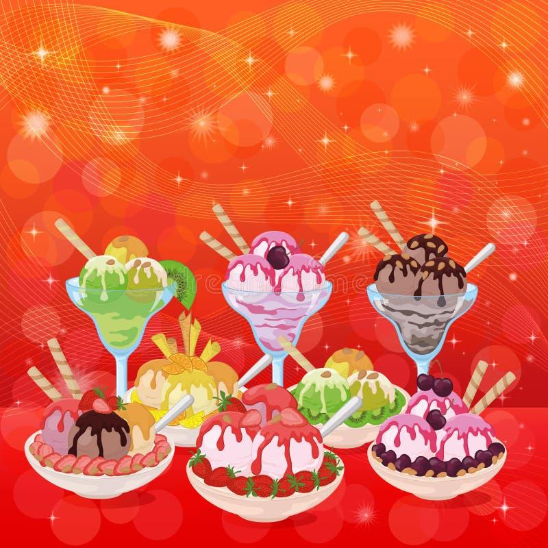 Crème glacée, Cherry Berry et fond abstrait illustration stock