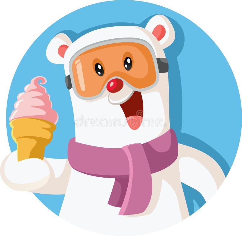 Crème glacée délicieuse de participation de pingouin de bande dessinée illustration libre de droits