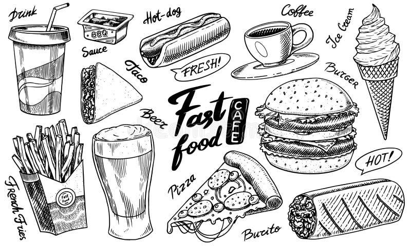 Crème glacée d'aliments de préparation rapide, d'hamburger et d'hamburger, de tacos et de hot-dog, de burrito et de bière, de boi illustration libre de droits