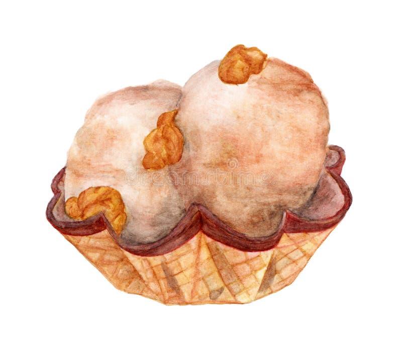 Crème glacée dans la tasse de gaufre avec le maïs éclaté de caramel sur le fond blanc, illustration tirée par la main d'aquarelle illustration stock