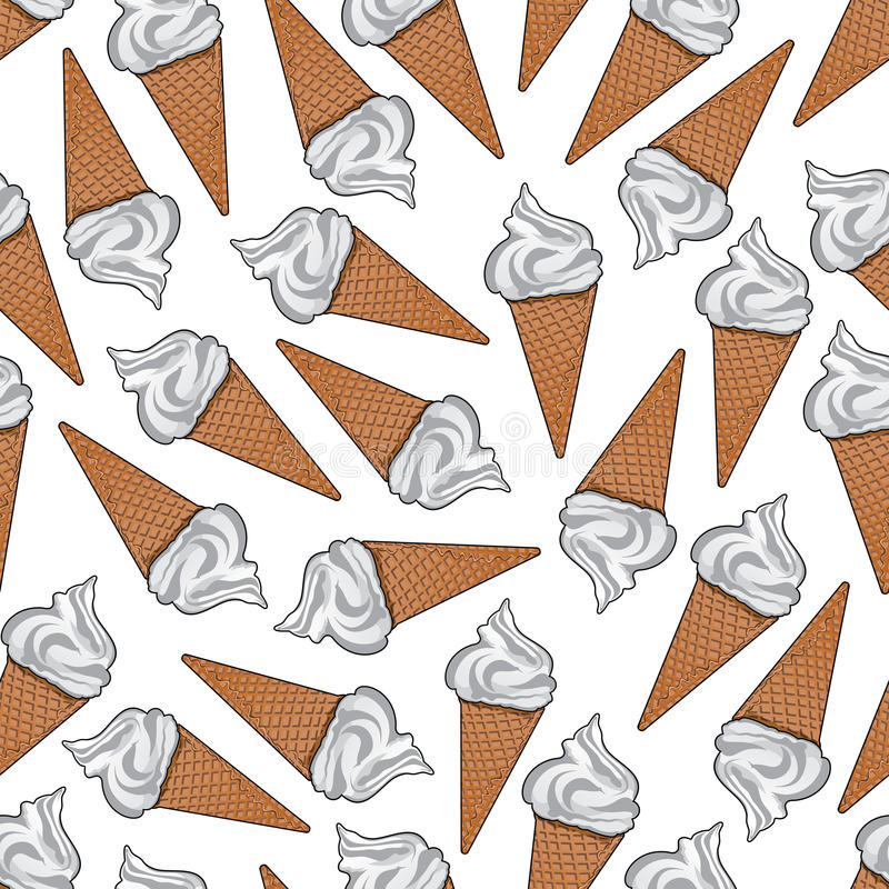 Crème glacée dans le modèle sans couture de cônes de gaufre de sucre illustration de vecteur