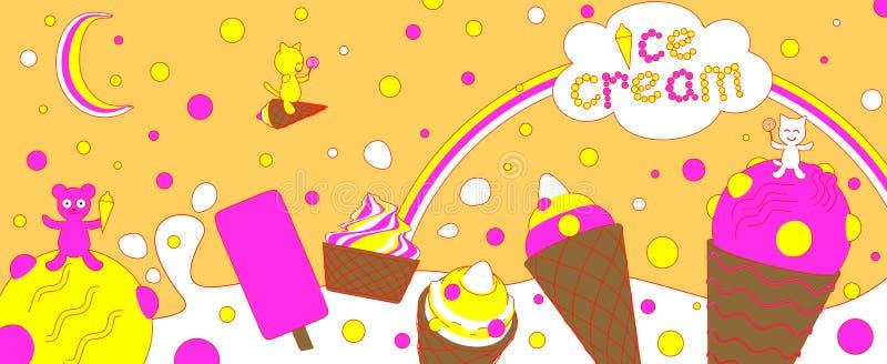 Crème glacée dans le style de bande dessinée sur le fond jaune 3d rendent illustration stock