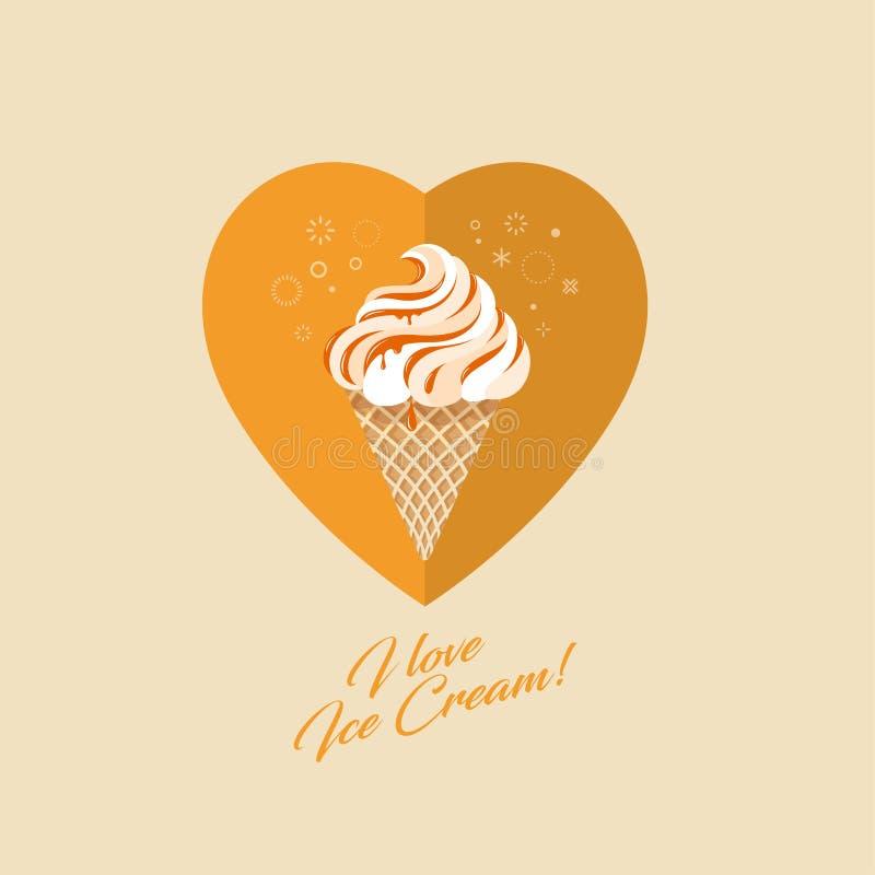 Crème glacée de caramel dans le cône de gaufre Crème glacée, sauce à caramel sur le coeur illustration libre de droits