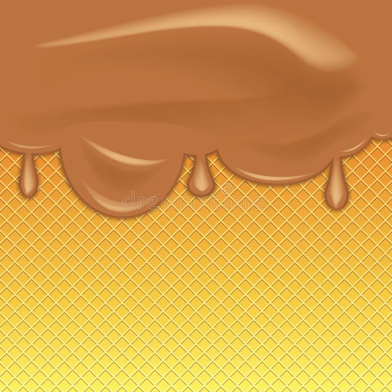 Crème glacée de chocolat circulant sur le fond de texture de gaufre Illustration de vecteur illustration de vecteur