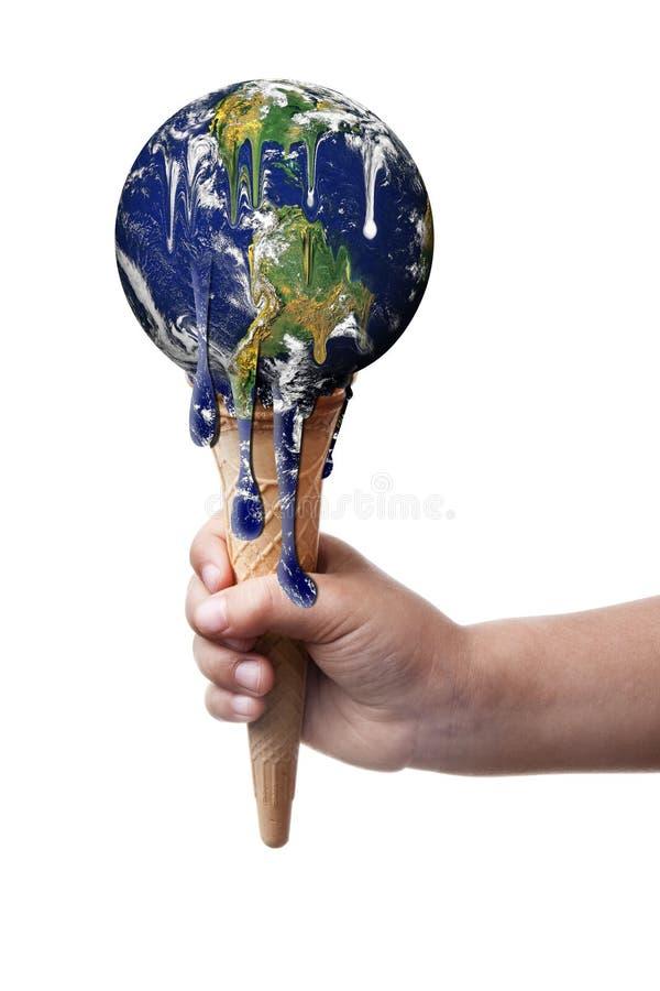 Crème glacée de fonte de réchauffement global de la terre d'isolement images libres de droits