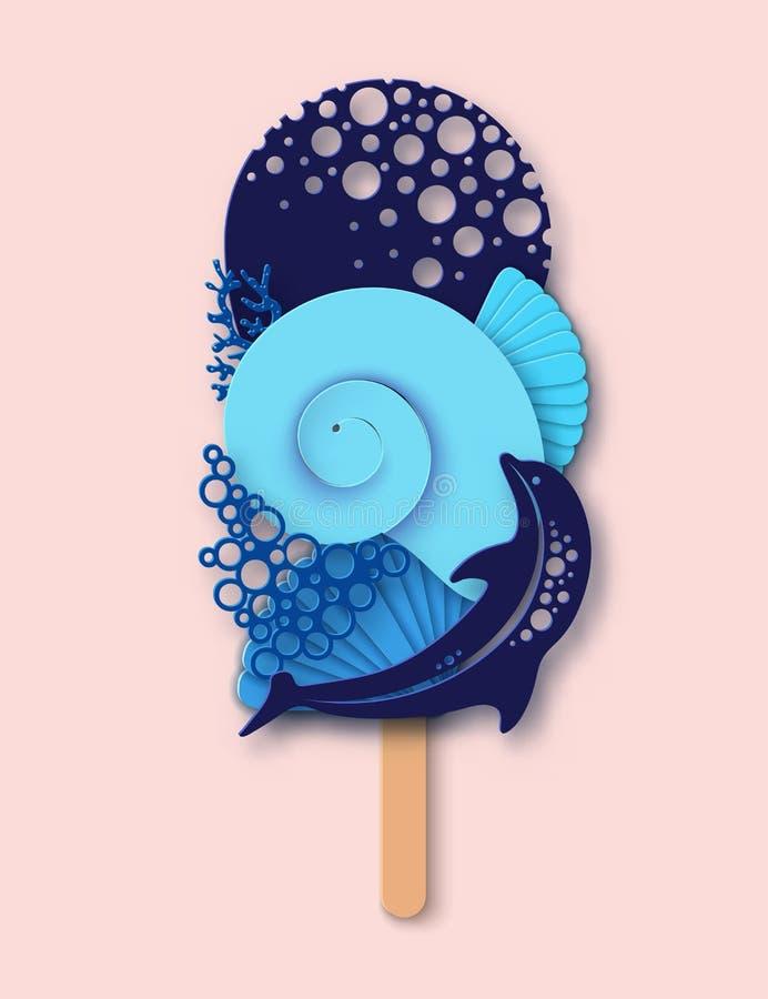 Crème glacée de papier faite en dauphin, vague de mer, corail et coquille de mer illustration libre de droits