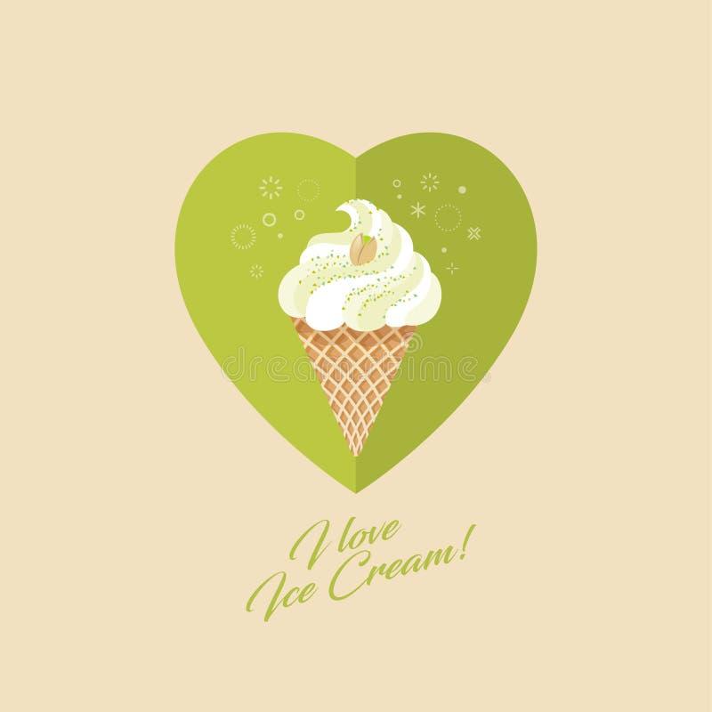 Crème glacée de pistache dans le cône de gaufre Crème glacée et pistache sur le coeur illustration de vecteur