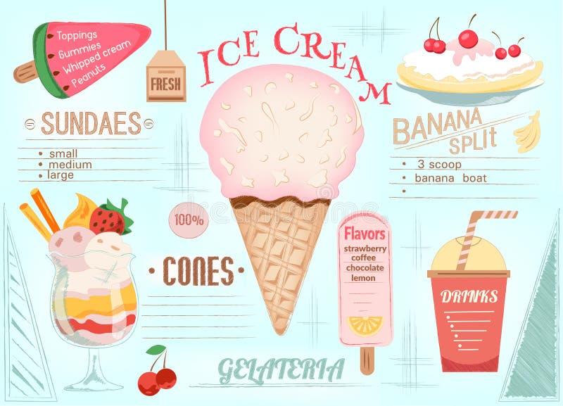 Crème glacée de Placemat illustration stock
