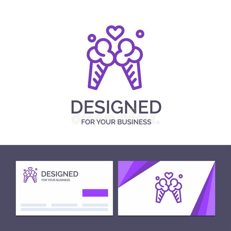 Crème glacée de visite de calibre créatif de carte de visite professionnelle et de logo, amour, voyage, illustration douce de vec illustration stock