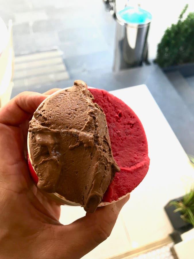 Crème glacée de yogourt glacé de cerise et de chocolat amer dans la tasse en plastique photos stock