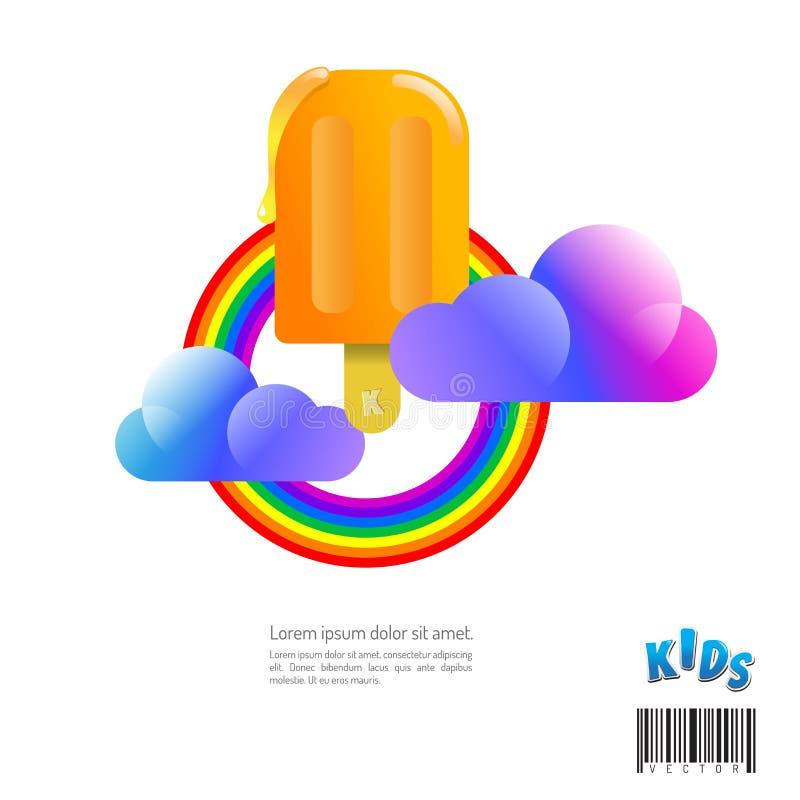 Crème glacée douce d'arc-en-ciel et  utilisation appropriée pour le symbole et le logo illustration de vecteur