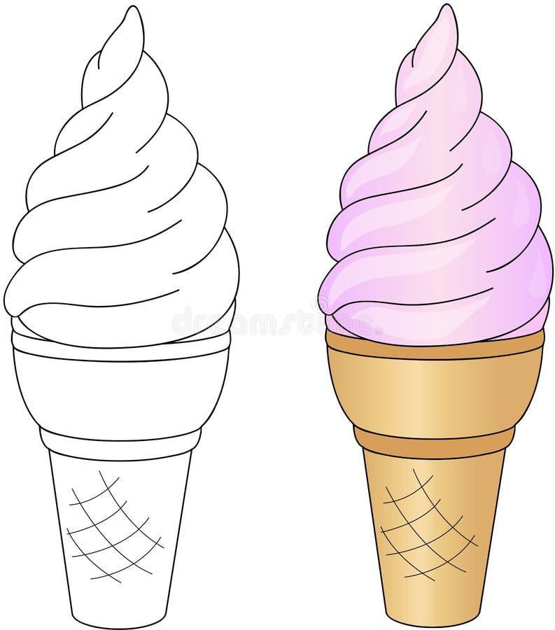 Crème glacée douce et savoureuse Livre de coloriage pour des enfants au sujet de nourriture illustration libre de droits