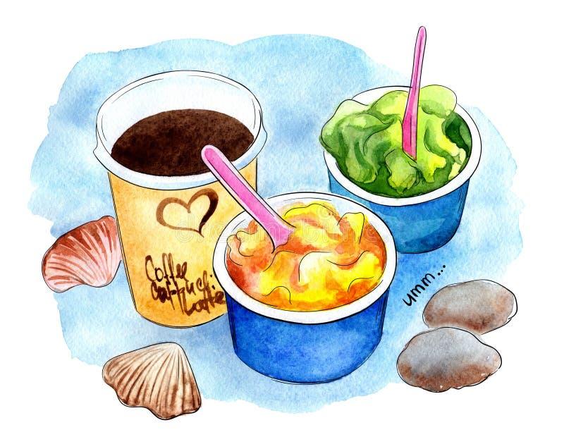 Crème glacée et coffe, sorbets sur la plage sur le fond bleu d'aquarelle illustration libre de droits
