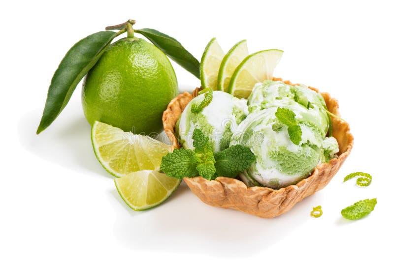 Crème glacée et fruit de chaux photographie stock libre de droits