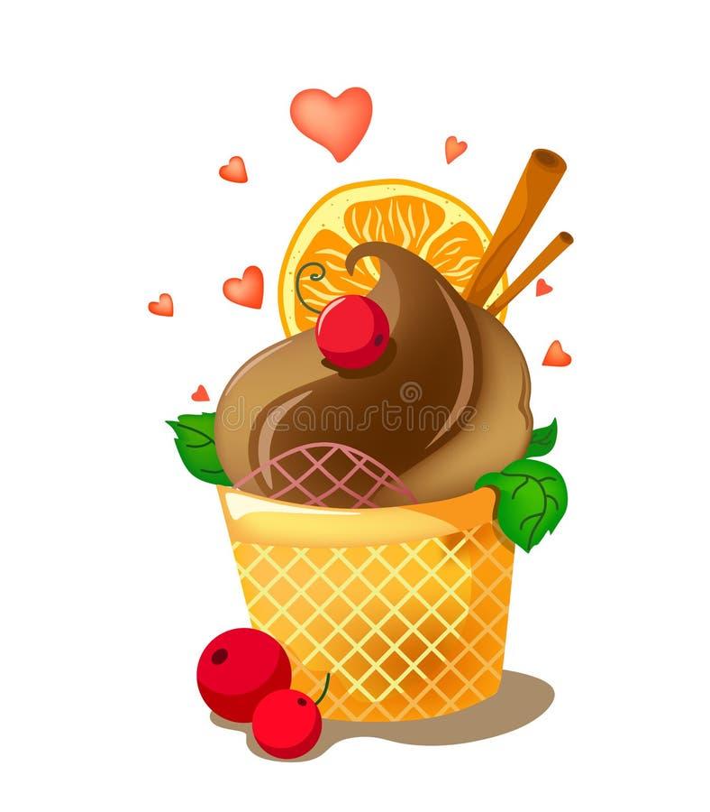 Crème glacée lumineuse de chocolat avec le décor et les coeurs Crème glacée avec des bâtons de cannelle, des feuilles en bon état illustration libre de droits