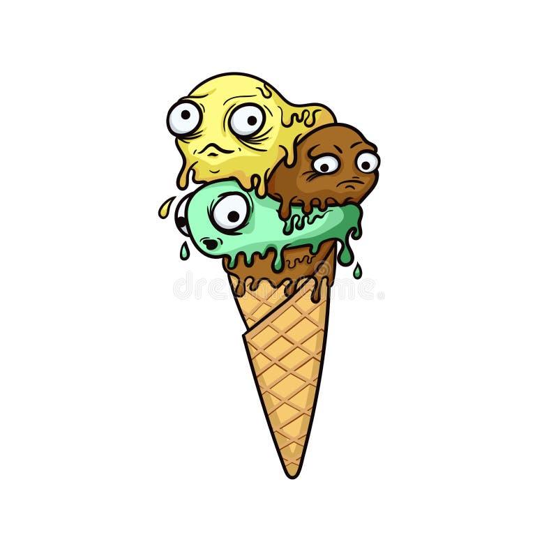Crème glacée mignonne de zombi avec les yeux et la bouche illustration stock