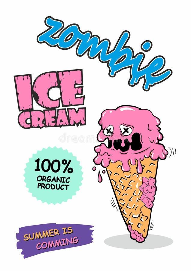 Crème glacée mignonne de zombi Peut être employé pour la conception de T-shirt ou pour Halloween L'été vient illustration libre de droits