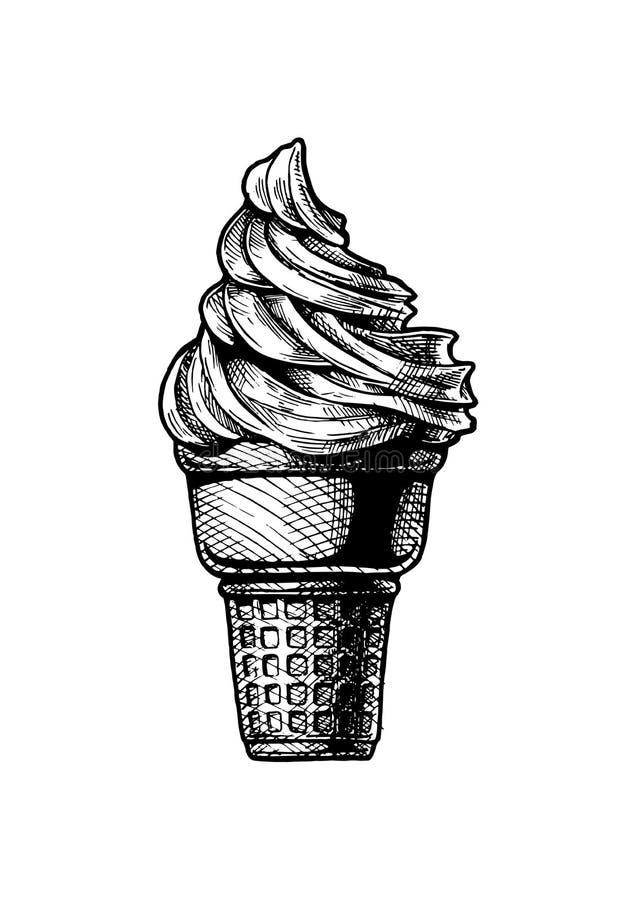 Crème glacée molle de service dans un cône illustration stock
