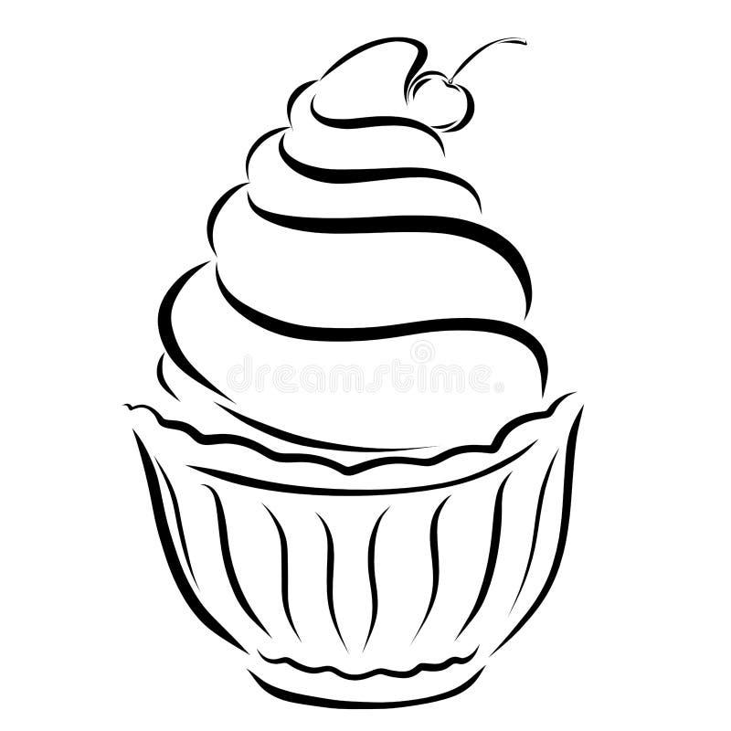 Crème glacée ou gâteau avec des cerises illustration de vecteur