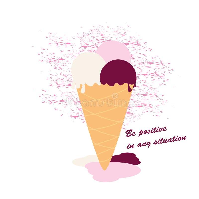 Crème glacée qui fond illustration de vecteur