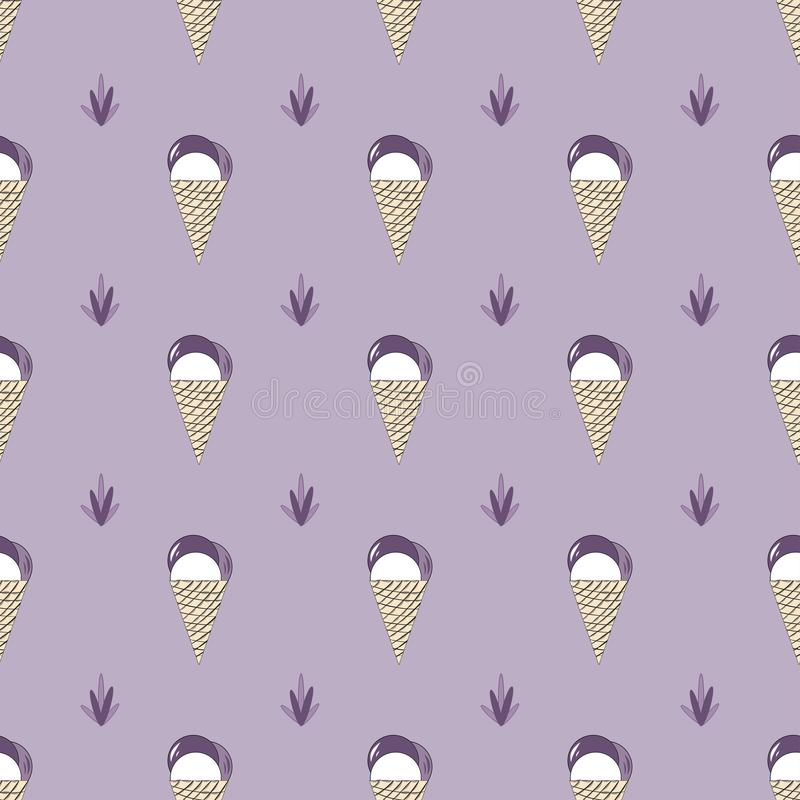 Crème glacée sans couture de lavande de modèles de vecteur dans le style de la Provence illustration de vecteur
