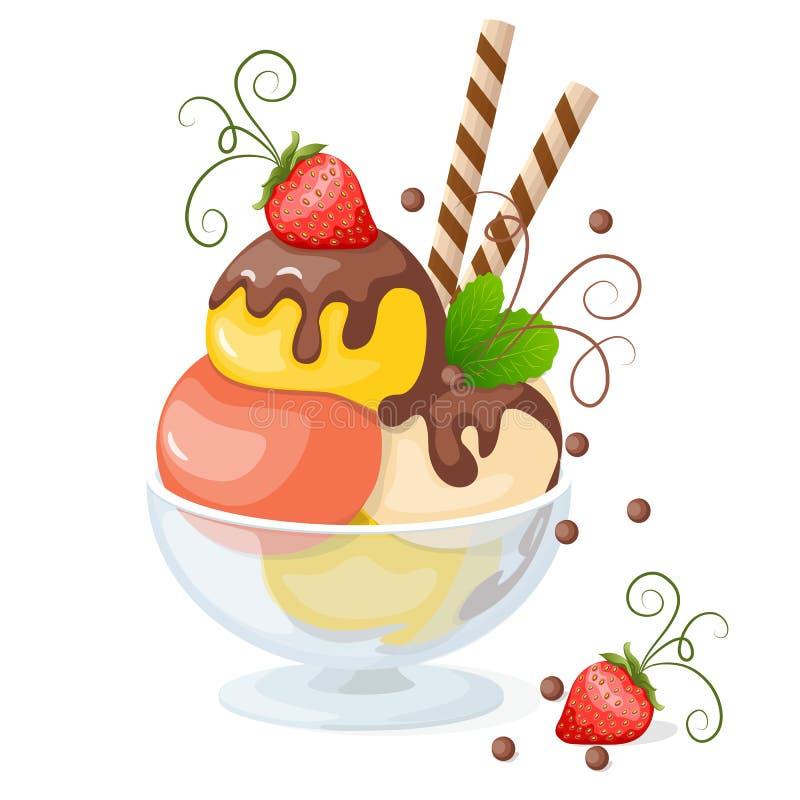 crème glacée sur le blanc avec la fraise illustration de vecteur