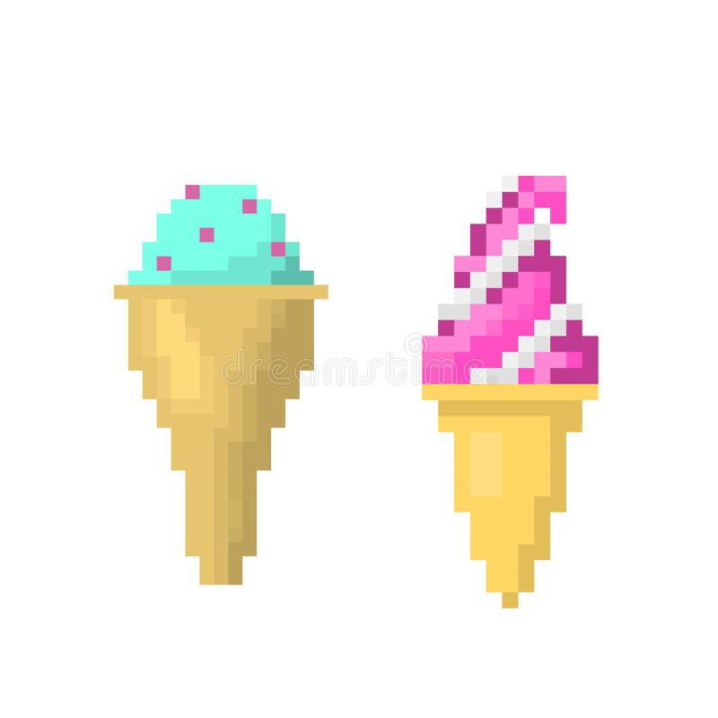 Crème glacée sur le style de bâton de l'illustration de vecteur d'art de pixel illustration libre de droits