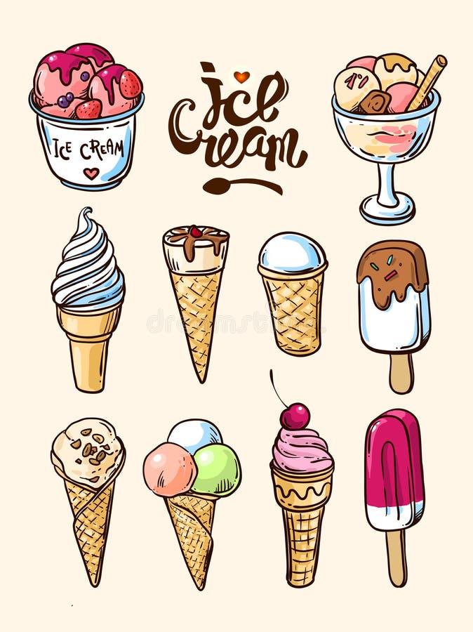 crème glacée tirée par la main illustration libre de droits