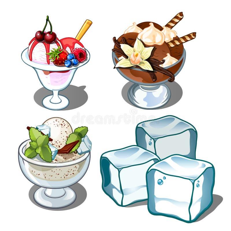Crème glacée trois délicieuse avec les baies, la menthe et le chocolat et les glaçons Dessert de vecteur d'isolement sur le blanc illustration stock