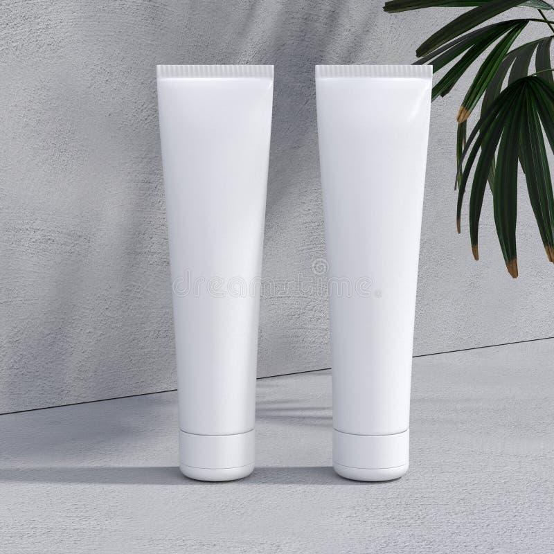 Crème ou pâte dentifrice cosmétique naturelle, sérum, emballage de bouteille de blanc de soins de la peau avec des feuilles herbe illustration stock