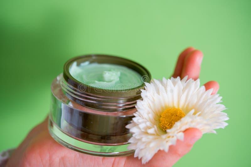Crème pour le visage, pomme verte, marguerite jaune sur un fond lumineux Produits de beauté normaux image libre de droits