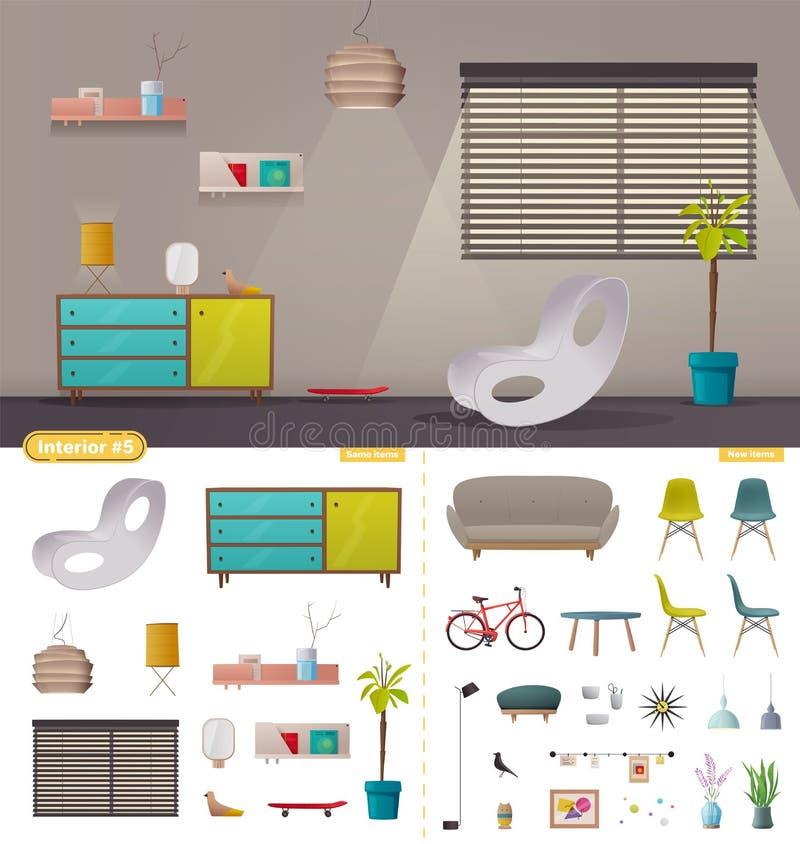 Créateur intérieur Salon ou bureau Illustration de vecteur de dessin animé illustration libre de droits