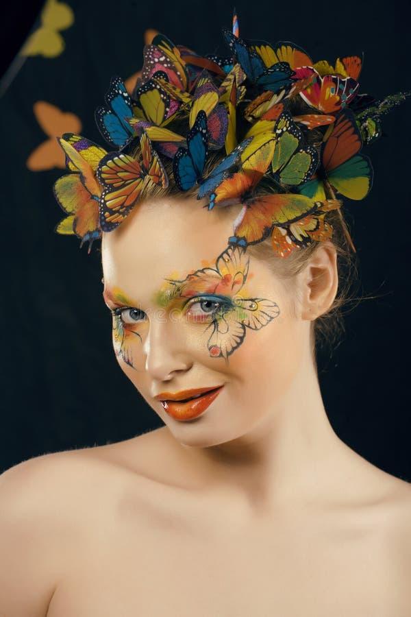 Créatif composez comme le papillon image stock