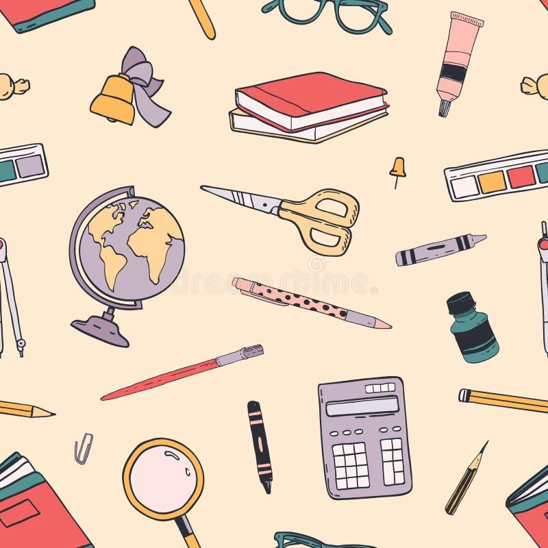 Créatif de nouveau au modèle sans couture d'école avec des approvisionnements d'éducation a dispersé sur le fond clair Tiré par l illustration stock