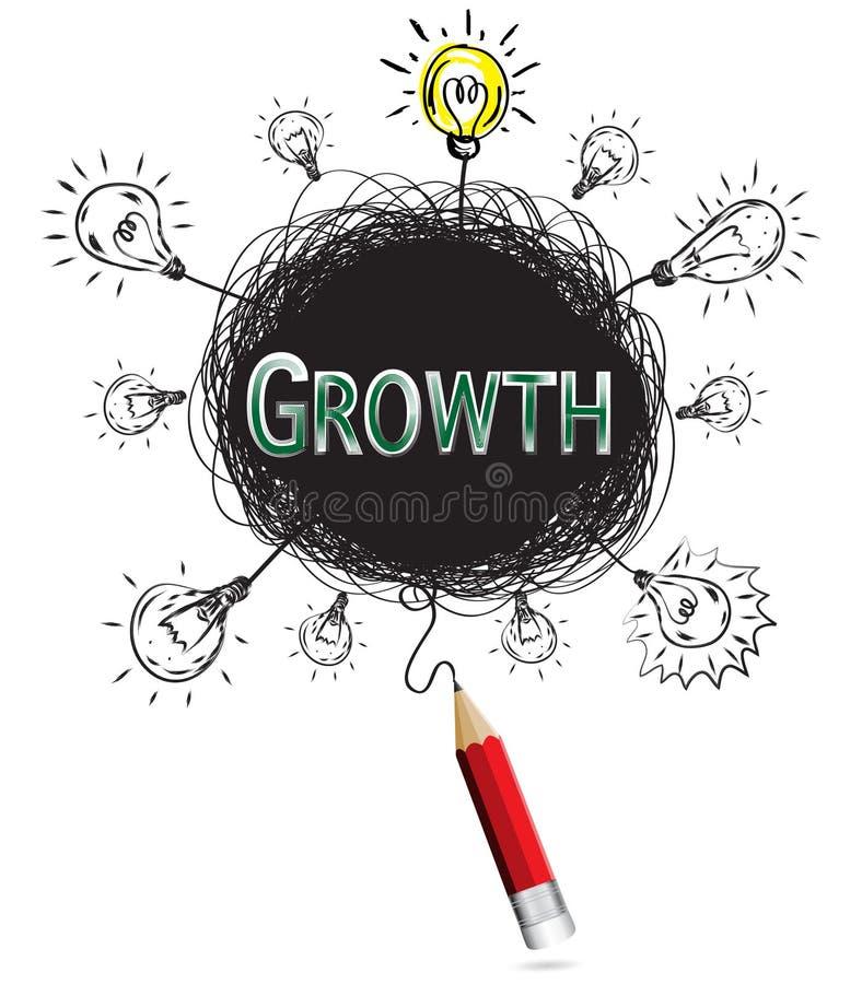 Créatine rouge d'éducation et d'affaires de croissance de vert de concept d'idée de crayon illustration stock
