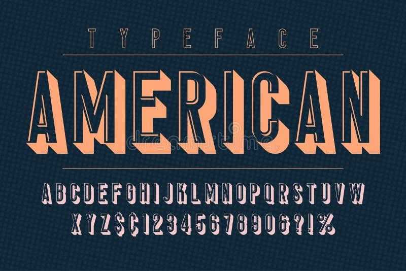 Création de fonte à la mode américaine d'affichage de vintage, alphabet, oeil d'un caractère illustration libre de droits