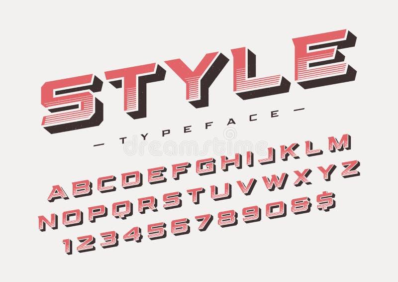 Création de fonte à la mode d'affichage de style la rétro, alphabet, oeil d'un caractère, illustration stock