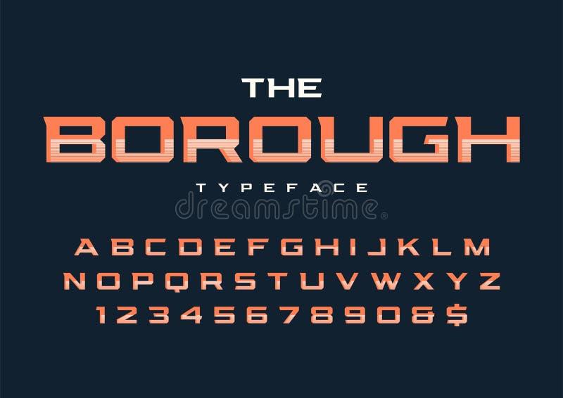 Création de fonte à la mode d'affichage de ville la rétro, alphabet, oeil d'un caractère illustration libre de droits