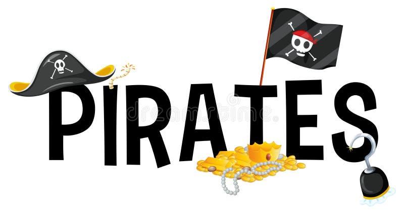 Création de fonte avec des pirates de mot illustration libre de droits