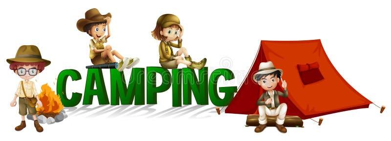Création de fonte avec le camping de mot illustration stock