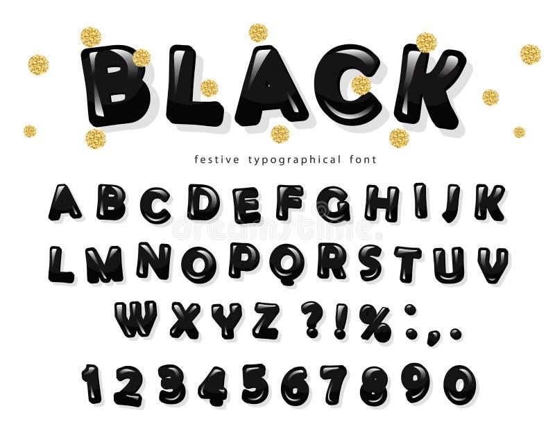 Création de fonte brillante noire lettres et nombres d'ABC Confettis d'or de scintillement illustration stock